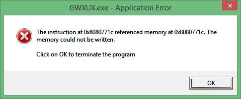 como remover GWXUX.exe Aplicação erro