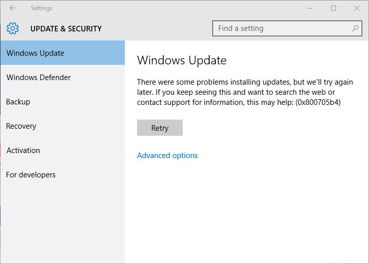 remover o erro de atualização do Windows 10 0x800705b4