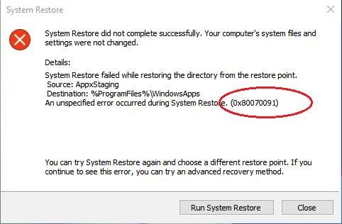 Erro de reparo 0x80070091