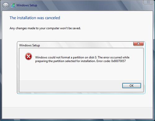 atualização do Windows 0x80070057 código de erro