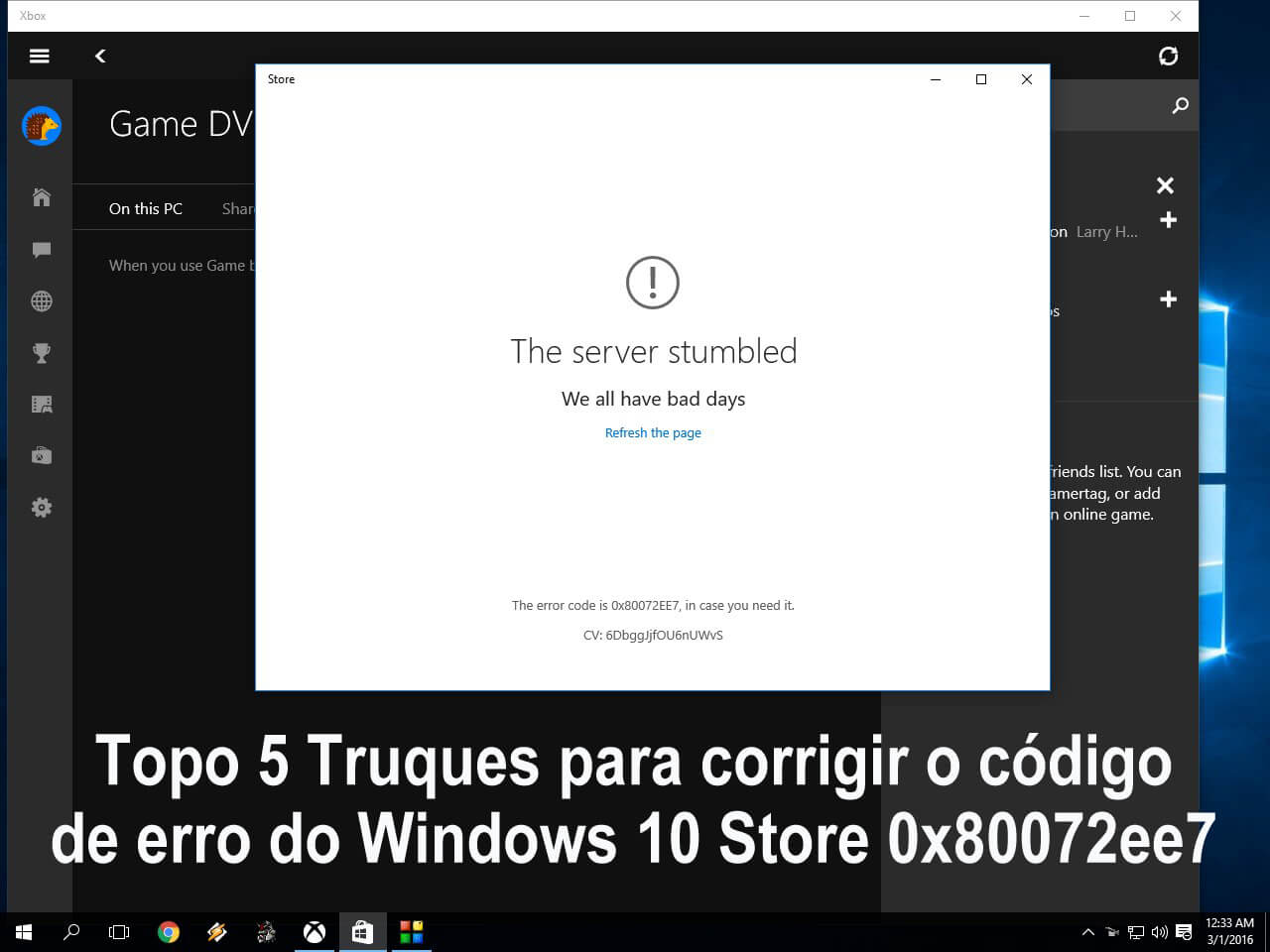 erro do Windows Store 0x80072ee7