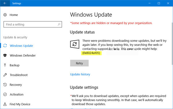 repare o código de erro do Windows Update 0x8024a105