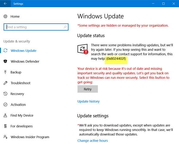 atualização do Windows 10 0x8024402f