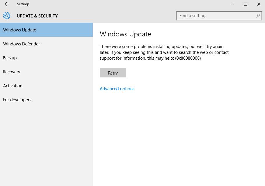 Excluir Erro de atualização 0x80080008