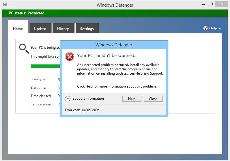 remova o código de erro do Windows Defender 0x8050800c