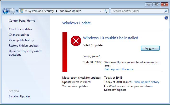 resolver Windows 10 system 0x800703F1 error