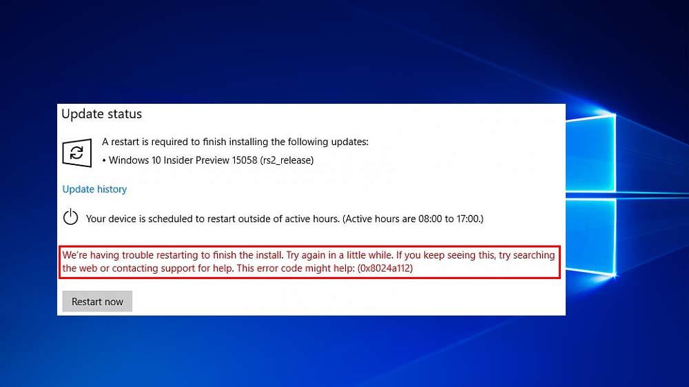 excluir o erro de atualização do Windows 10 0x8024a112