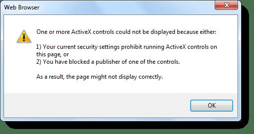 """corrigir """"suas configurações de segurança atuais proibir a execução do ActiveX"""""""