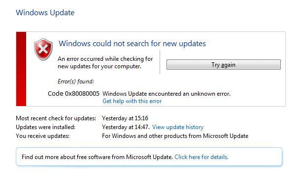 se livrar do Windows Update Error Code 0x80080005