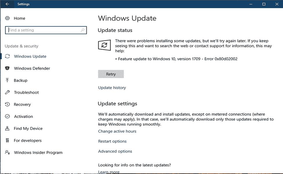 remover o erro de atualização do Windows 0x80d02002