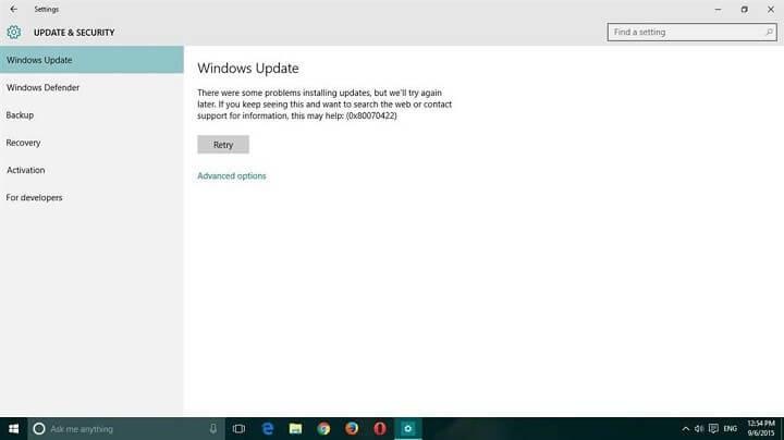 reparar o erro de atualização do Windows 10 0x80070422