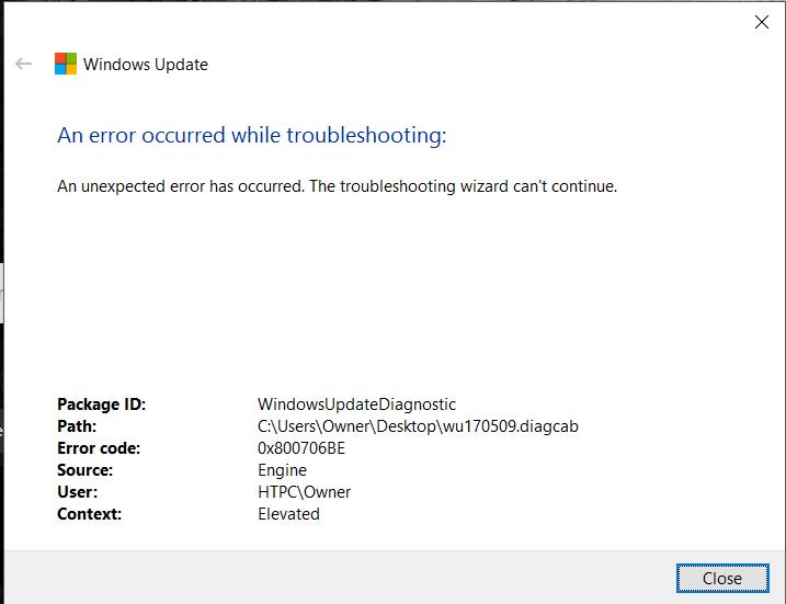 excluir o Windows 10 Atualizar Erro 0x800706be